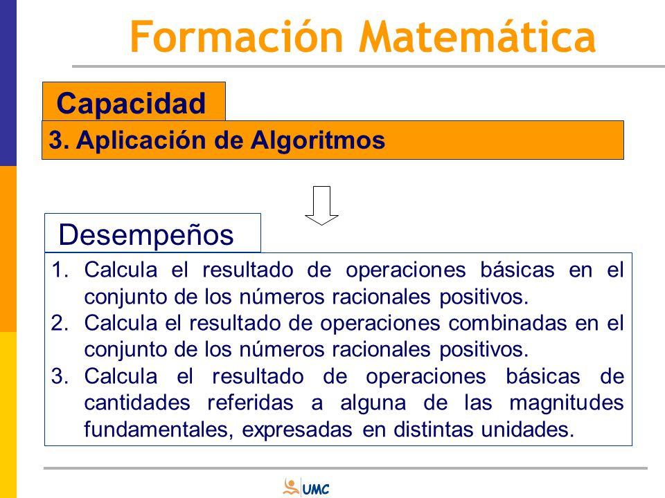 Formación Matemática Capacidad Desempeños 3. Aplicación de Algoritmos