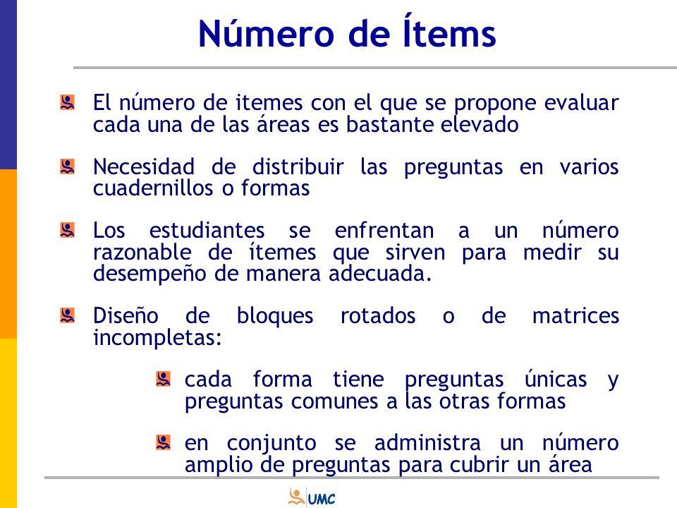 Número de Ítems El número de itemes con el que se propone evaluar cada una de las áreas es bastante elevado.
