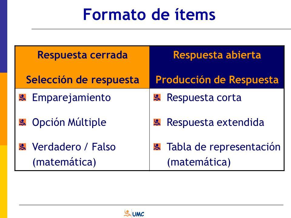 Selección de respuesta Producción de Respuesta