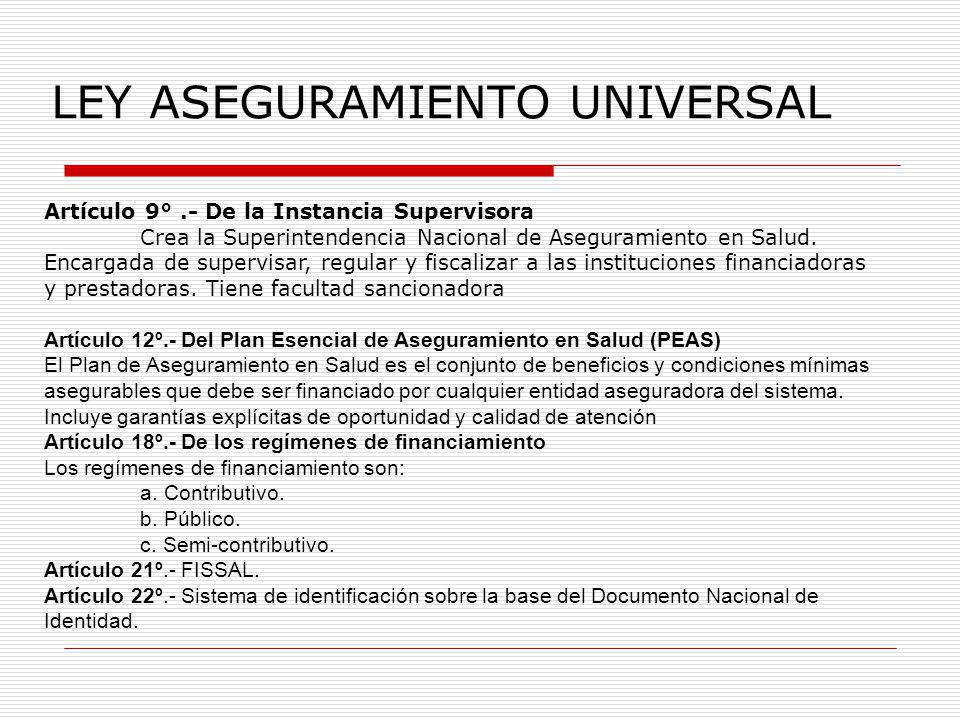 LEY ASEGURAMIENTO UNIVERSAL