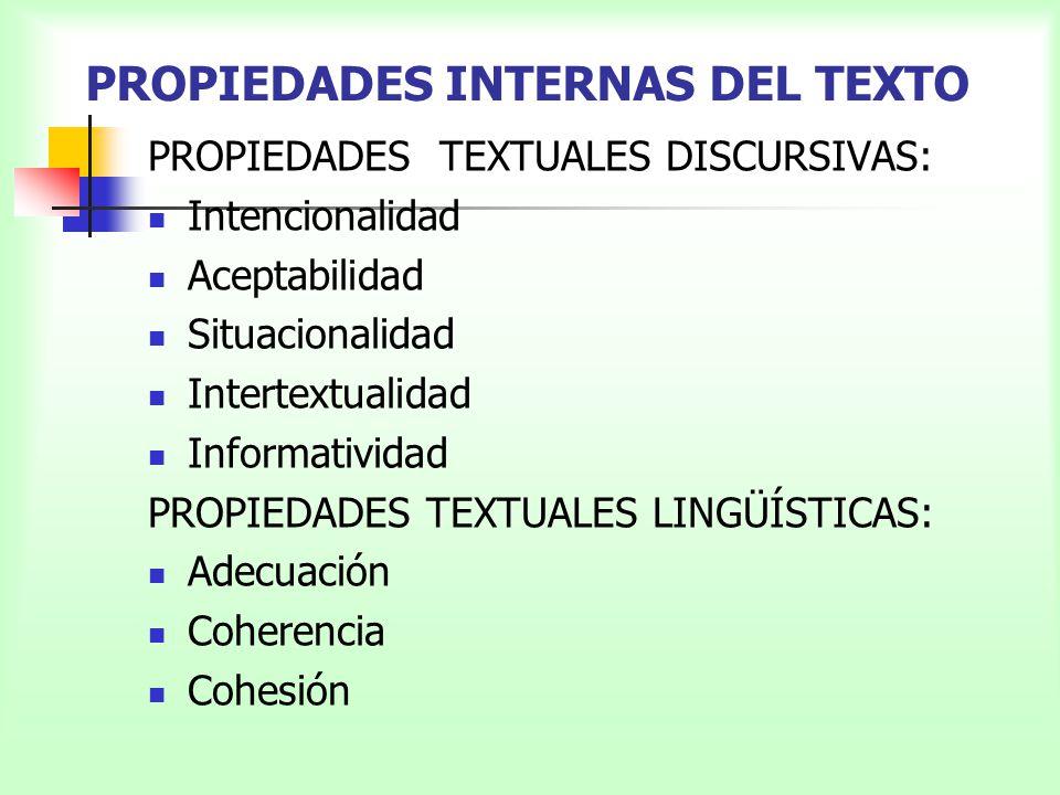 PROPIEDADES INTERNAS DEL TEXTO