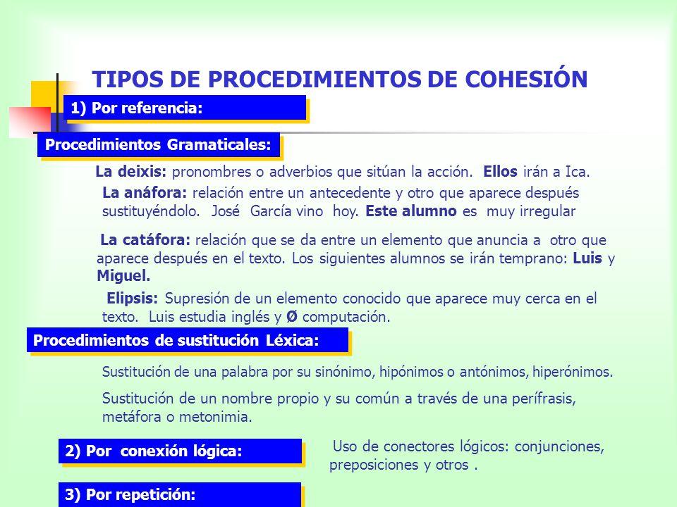 TIPOS DE PROCEDIMIENTOS DE COHESIÓN