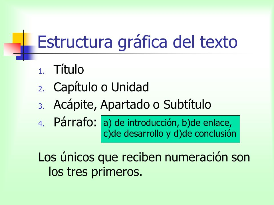 Estructura gráfica del texto