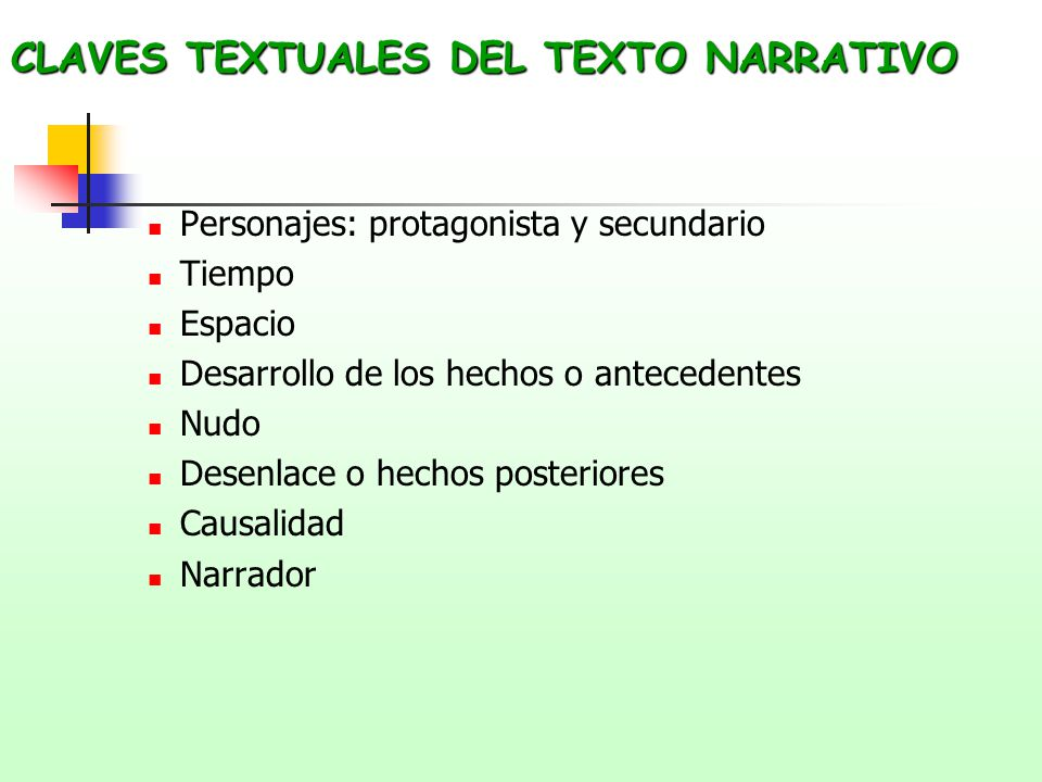 CLAVES TEXTUALES DEL TEXTO NARRATIVO