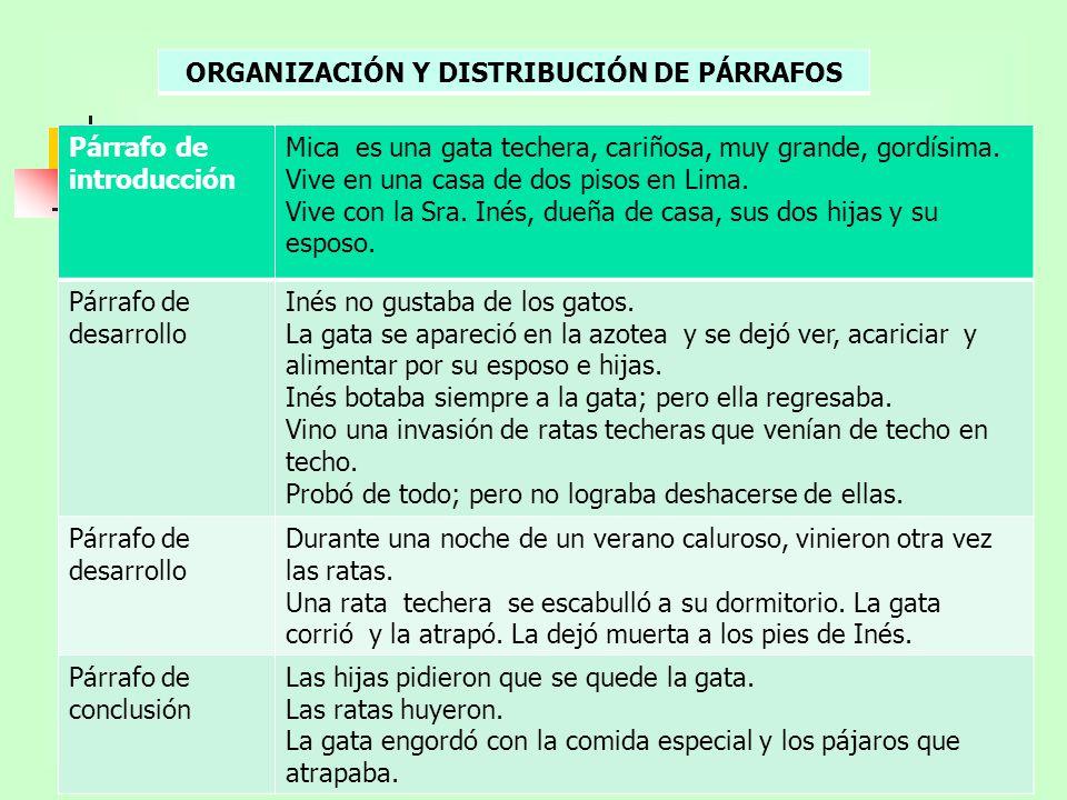 ORGANIZACIÓN Y DISTRIBUCIÓN DE PÁRRAFOS
