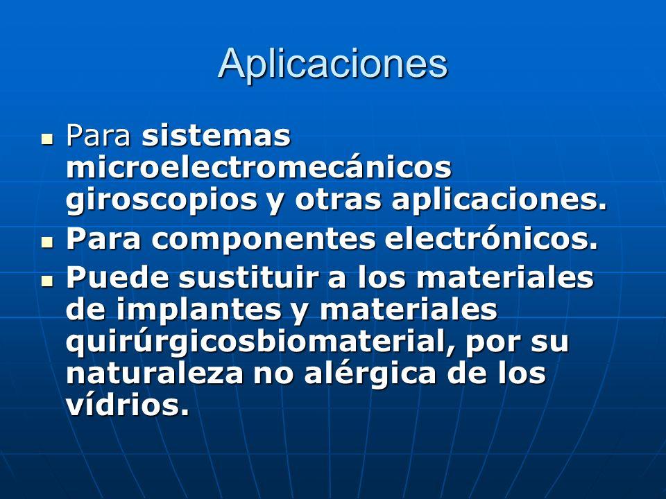 Aplicaciones Para sistemas microelectromecánicos giroscopios y otras aplicaciones. Para componentes electrónicos.