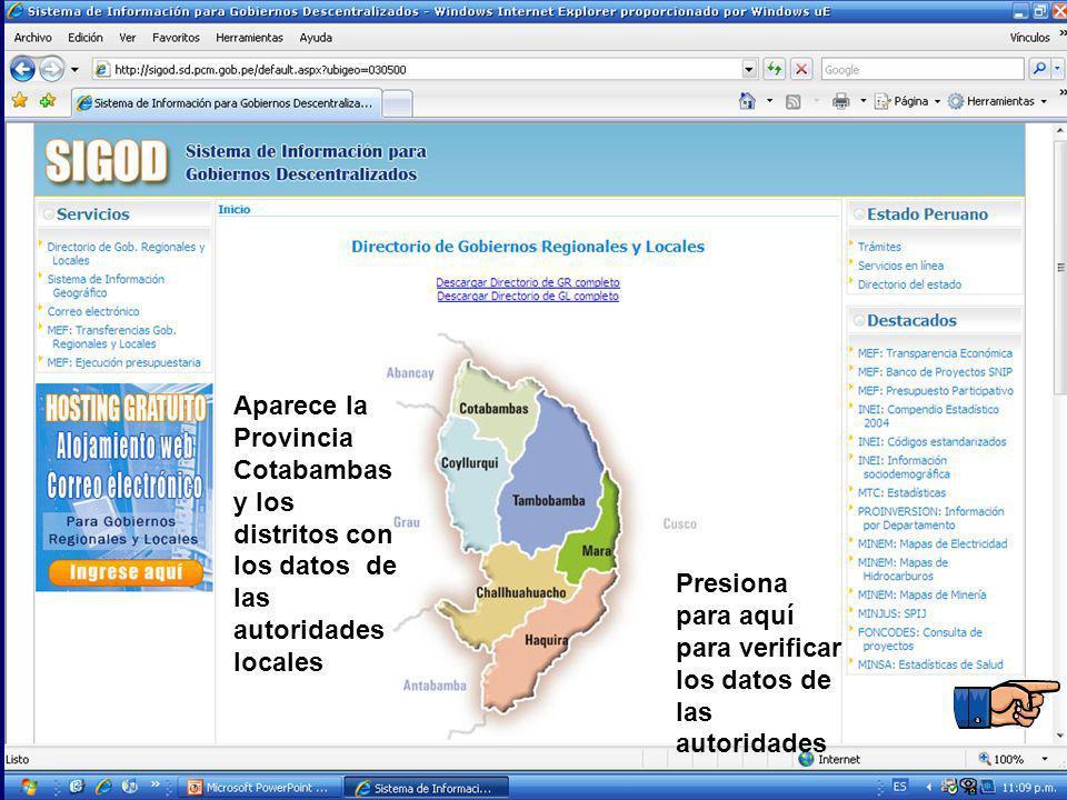 Aparece la Provincia Cotabambas y los distritos con los datos de las autoridades locales