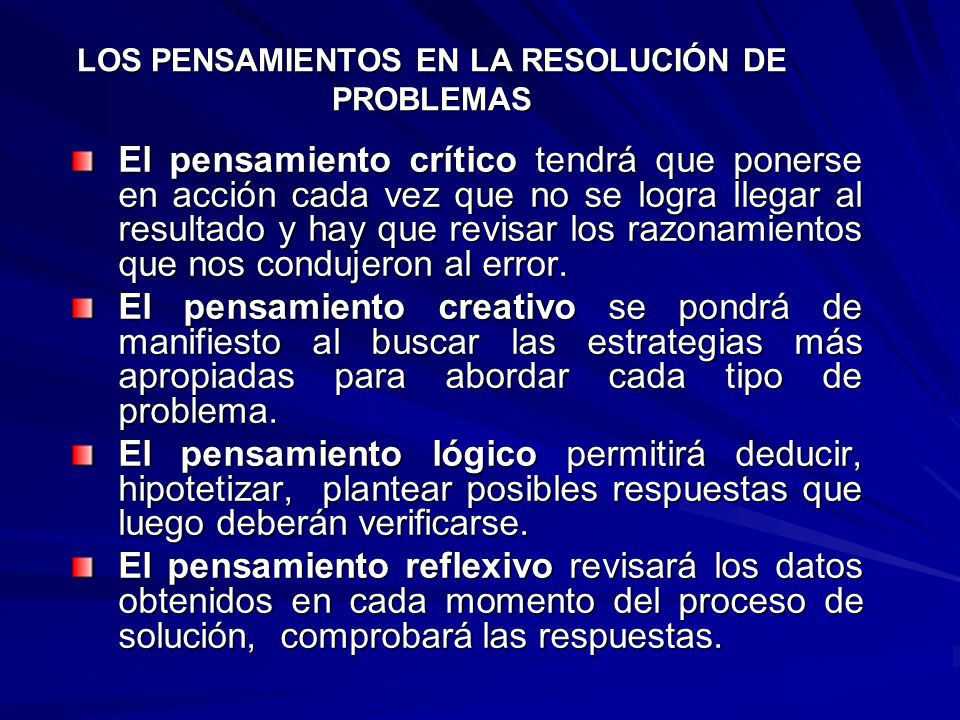 LOS PENSAMIENTOS EN LA RESOLUCIÓN DE PROBLEMAS