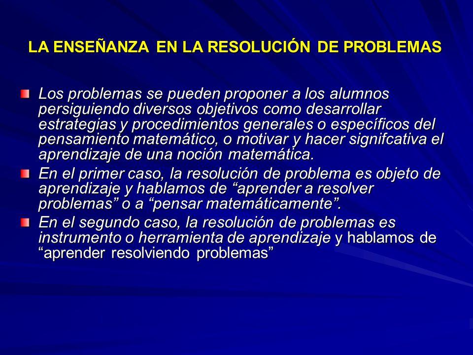 LA ENSEÑANZA EN LA RESOLUCIÓN DE PROBLEMAS
