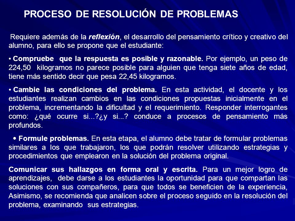 PROCESO DE RESOLUCIÓN DE PROBLEMAS