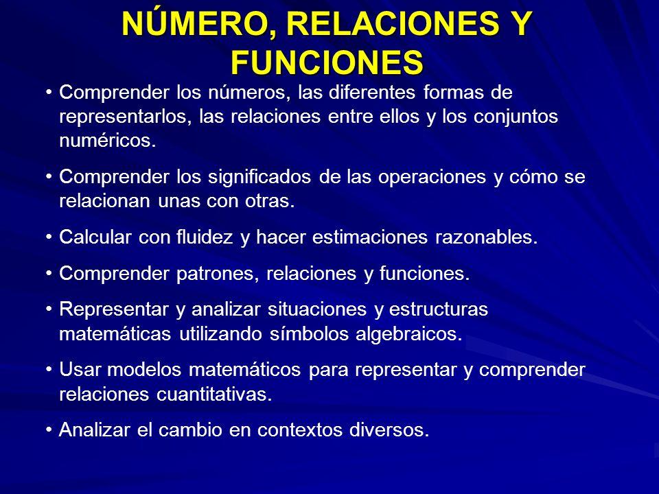 NÚMERO, RELACIONES Y FUNCIONES