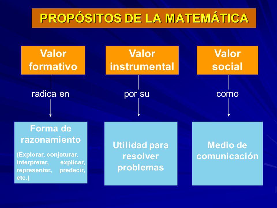 PROPÓSITOS DE LA MATEMÁTICA
