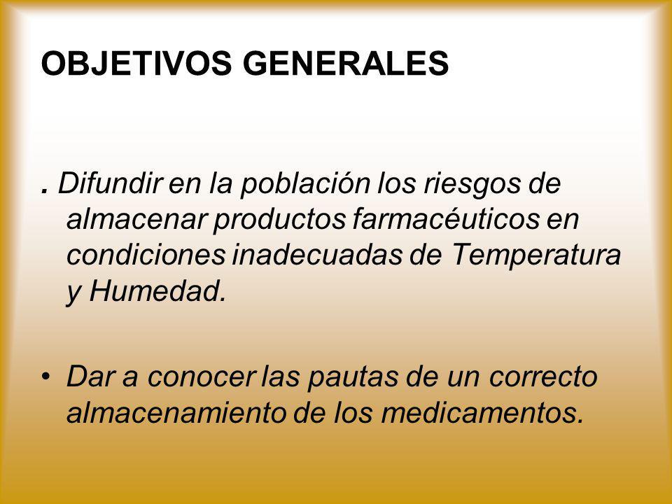 OBJETIVOS GENERALES . Difundir en la población los riesgos de almacenar productos farmacéuticos en condiciones inadecuadas de Temperatura y Humedad.