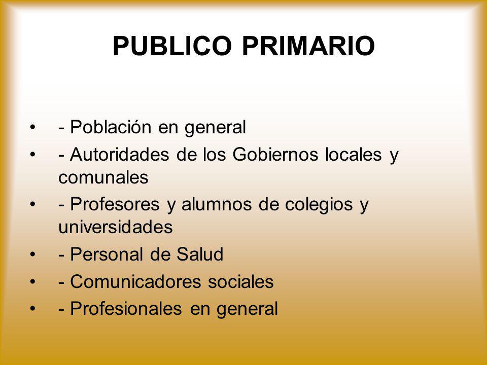 PUBLICO PRIMARIO - Población en general