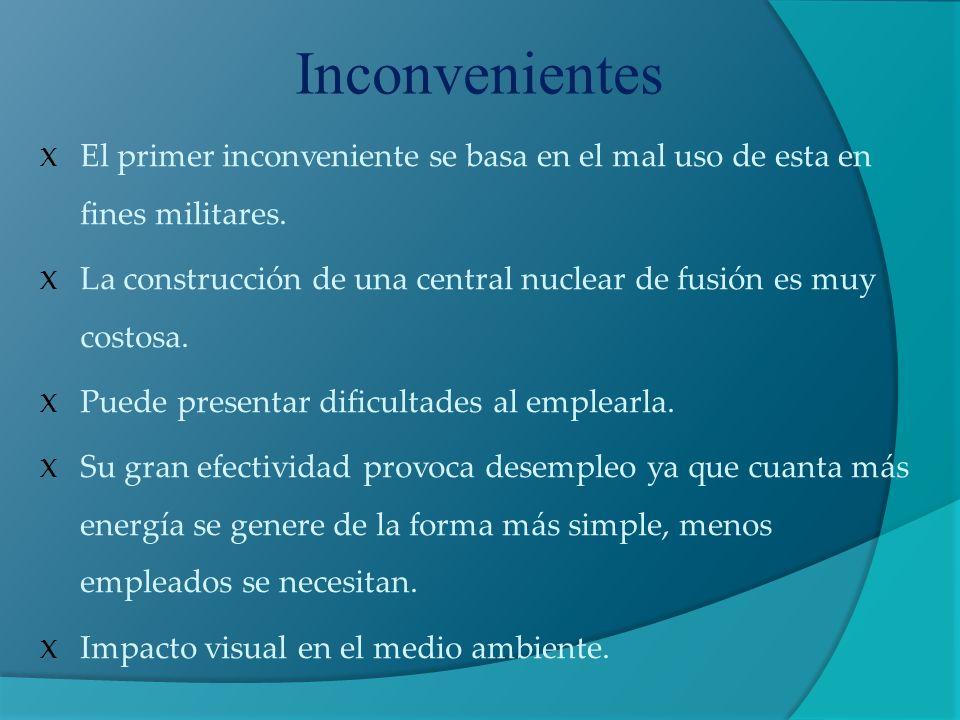 Inconvenientes El primer inconveniente se basa en el mal uso de esta en fines militares.
