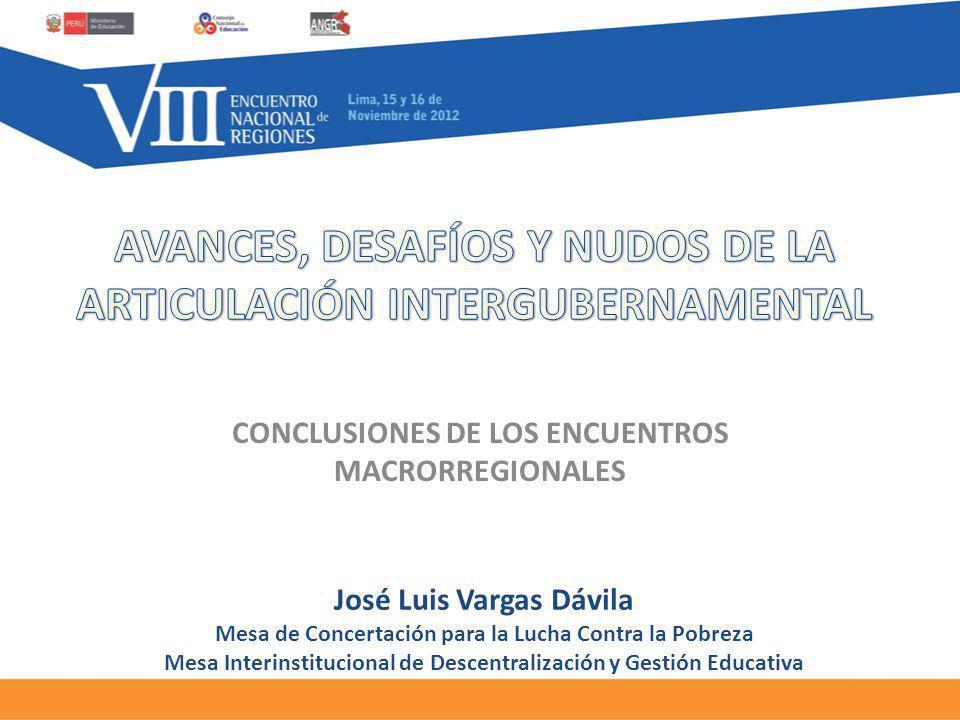 CONCLUSIONES DE LOS ENCUENTROS MACRORREGIONALES