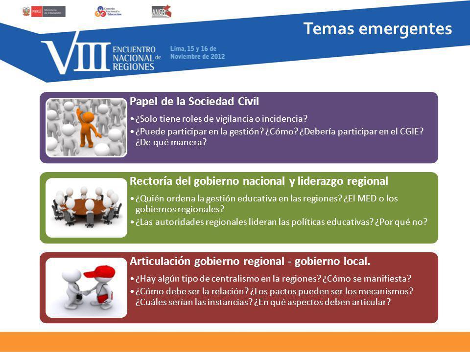 Temas emergentes Papel de la Sociedad Civil