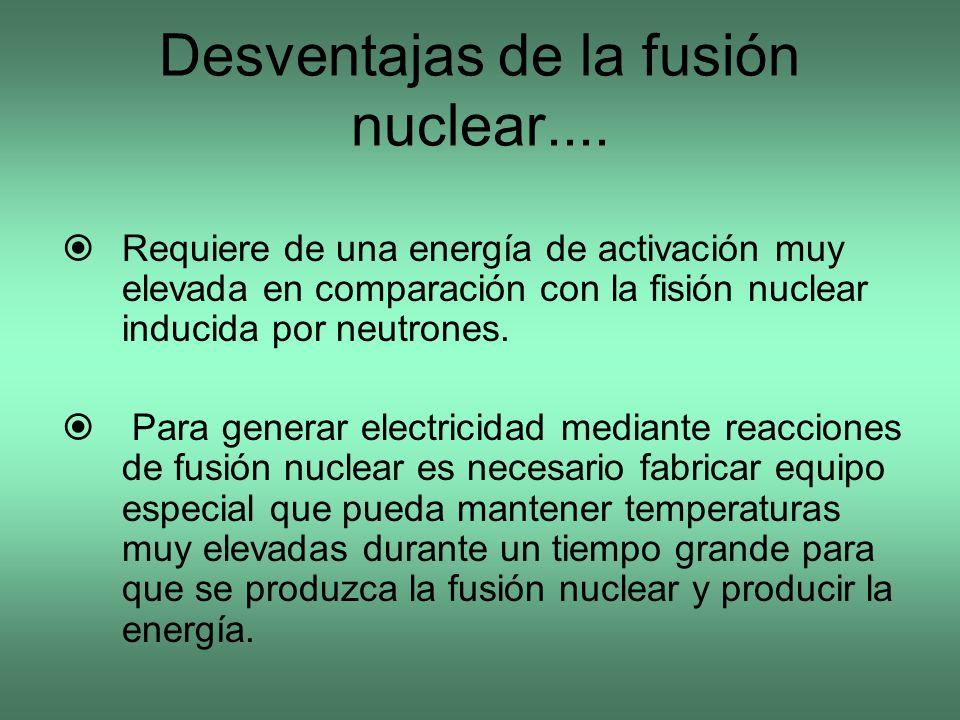 Desventajas de la fusión nuclear....