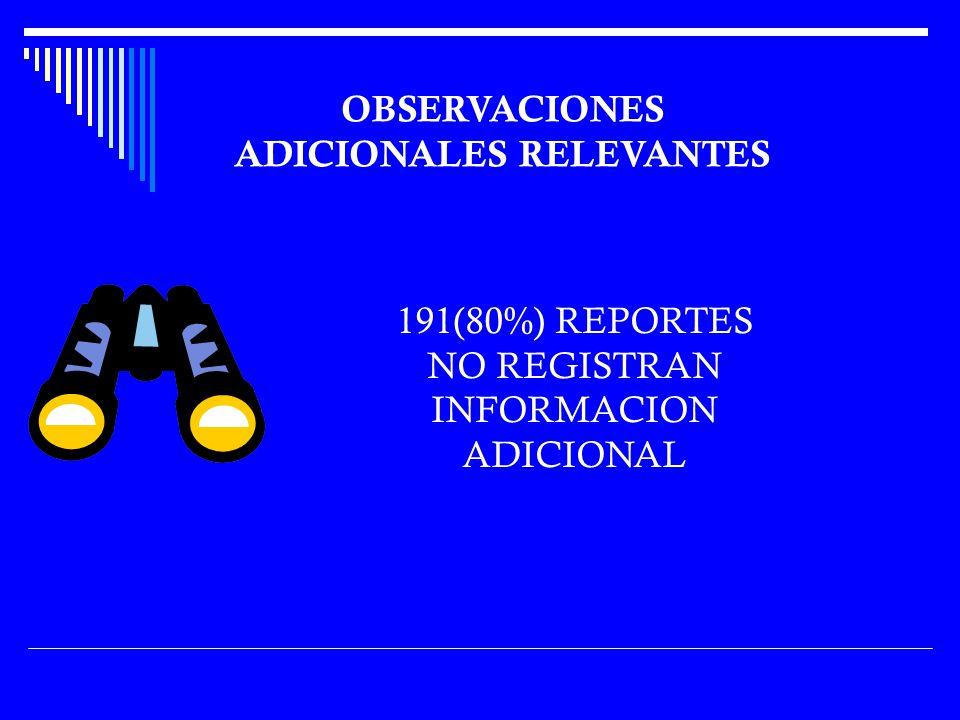 OBSERVACIONES ADICIONALES RELEVANTES