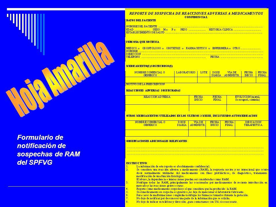 Hoja Amarilla Formulario de notificación de sospechas de RAM del SPFVG