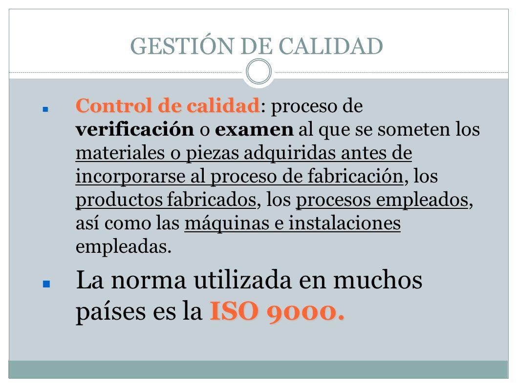 La norma utilizada en muchos países es la ISO 9000.