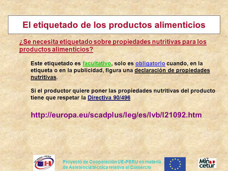El etiquetado de los productos alimenticios