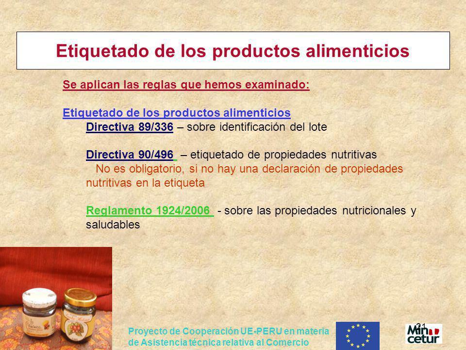 Etiquetado de los productos alimenticios