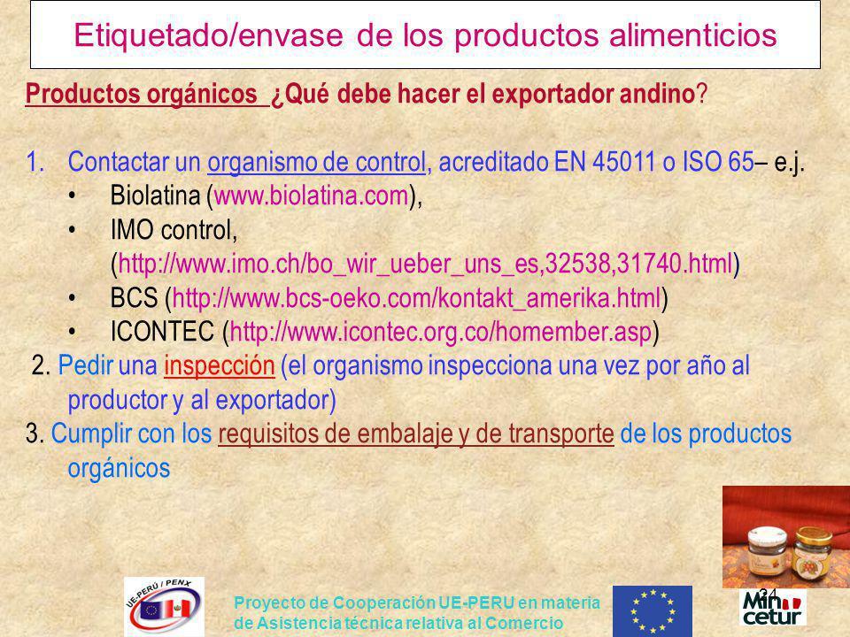 Etiquetado/envase de los productos alimenticios
