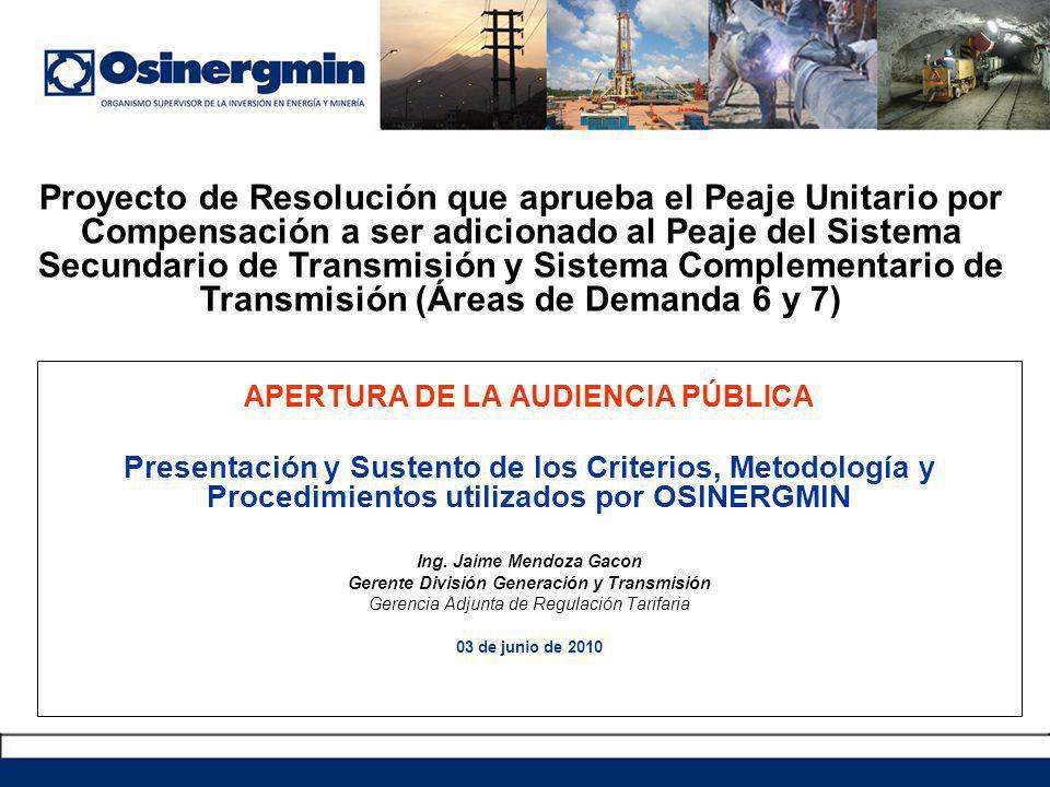 Proyecto de Resolución que aprueba el Peaje Unitario por Compensación a ser adicionado al Peaje del Sistema Secundario de Transmisión y Sistema Complementario de Transmisión (Áreas de Demanda 6 y 7)