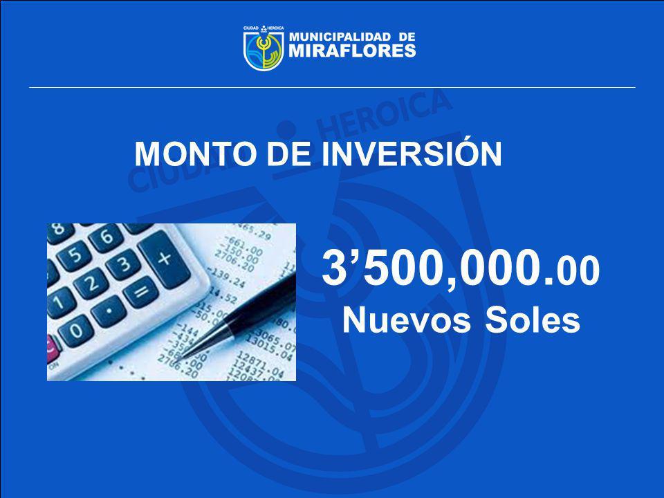 MONTO DE INVERSIÓN 3'500,000.00 Nuevos Soles