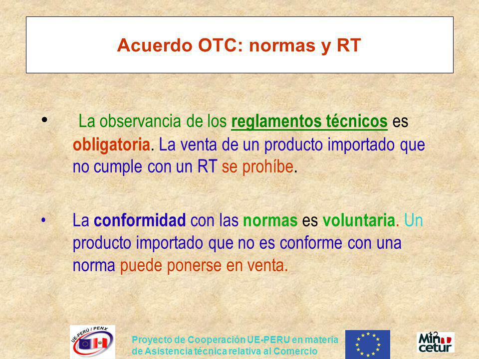 Acuerdo OTC: normas y RT
