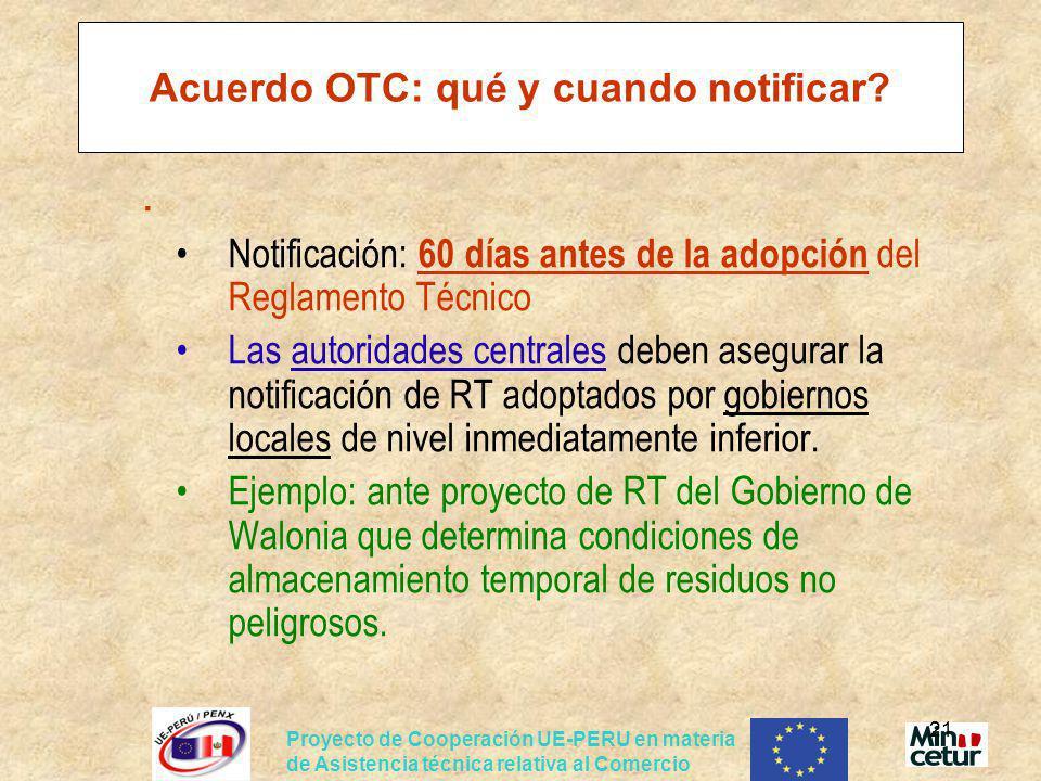 Acuerdo OTC: qué y cuando notificar