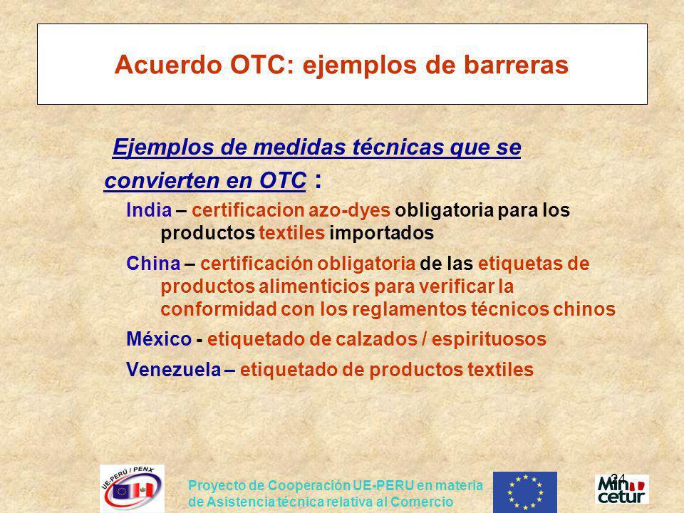 Acuerdo OTC: ejemplos de barreras