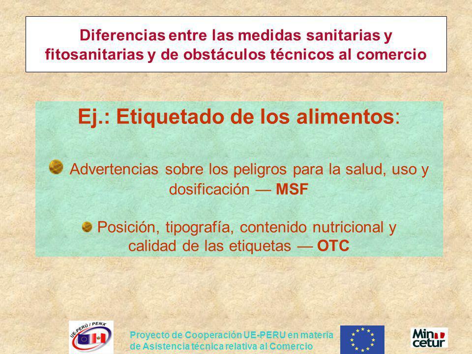 Ej.: Etiquetado de los alimentos:
