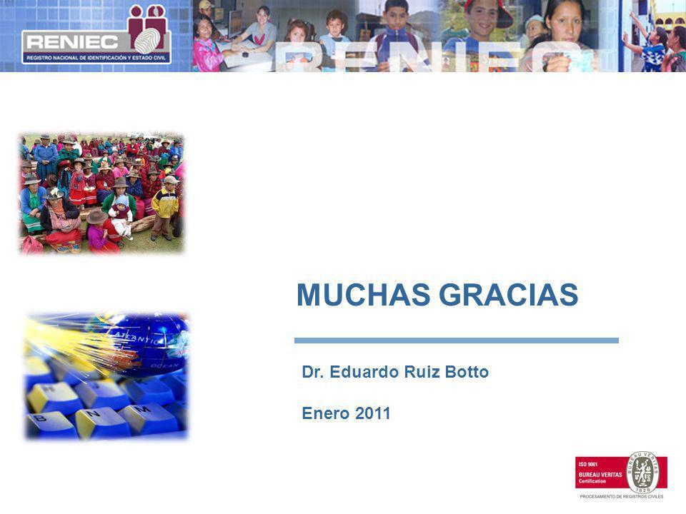 MUCHAS GRACIAS Dr. Eduardo Ruiz Botto Enero 2011