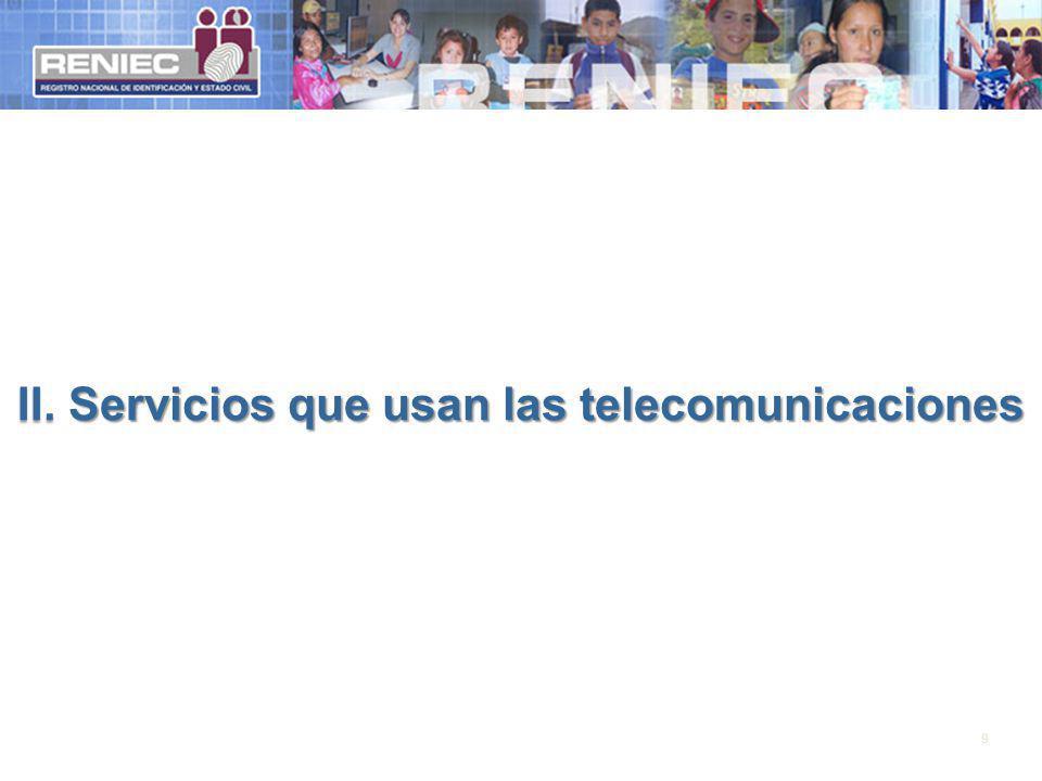 II. Servicios que usan las telecomunicaciones