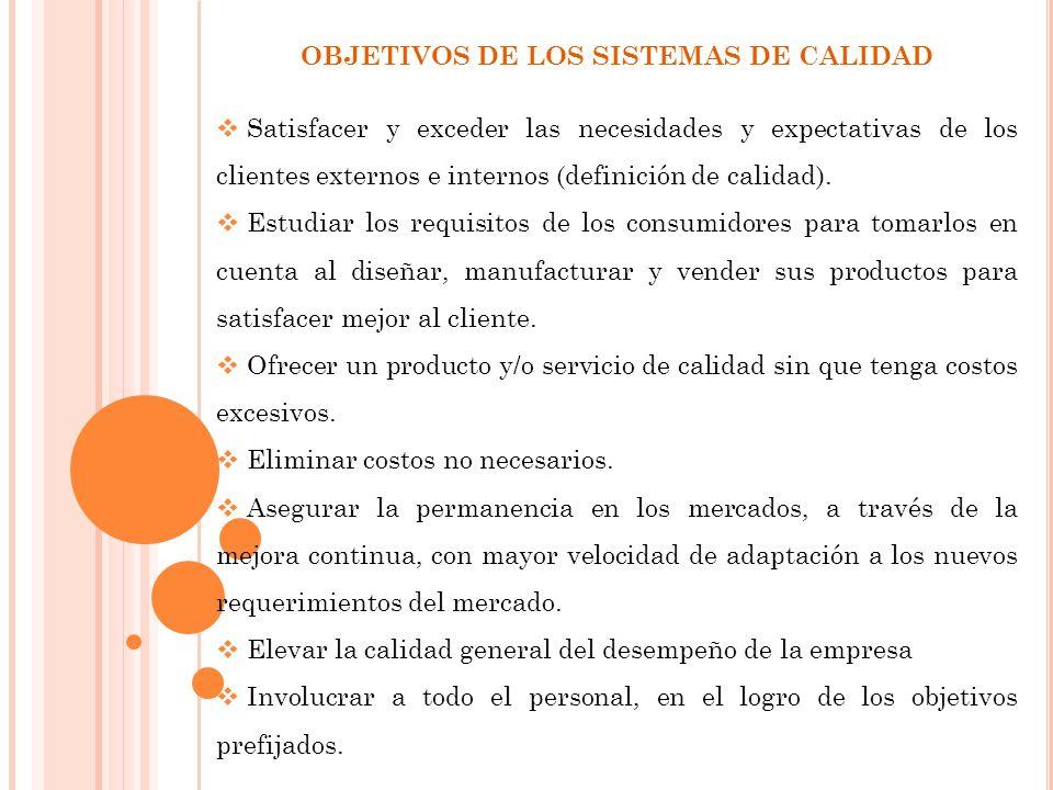 OBJETIVOS DE LOS SISTEMAS DE CALIDAD