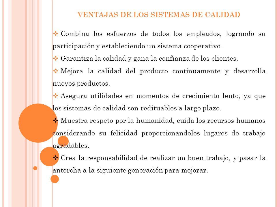 VENTAJAS DE LOS SISTEMAS DE CALIDAD