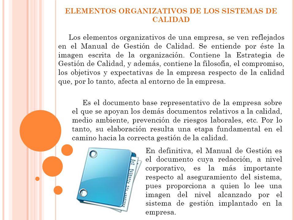 ELEMENTOS ORGANIZATIVOS DE LOS SISTEMAS DE CALIDAD