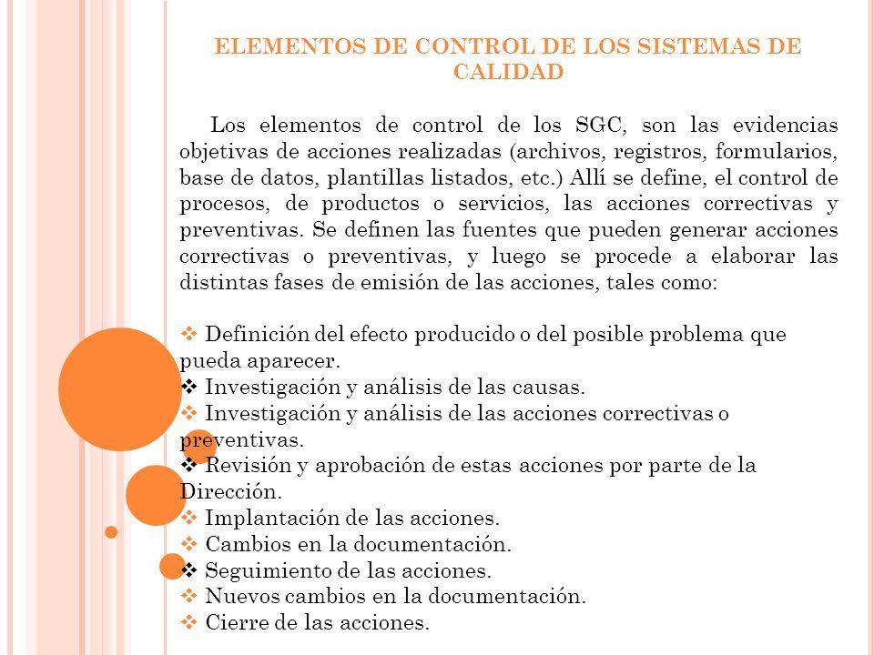 ELEMENTOS DE CONTROL DE LOS SISTEMAS DE CALIDAD
