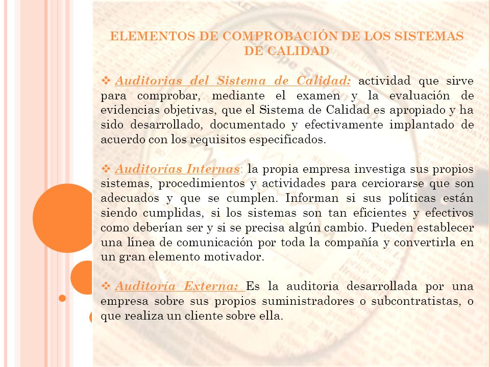 ELEMENTOS DE COMPROBACIÓN DE LOS SISTEMAS DE CALIDAD