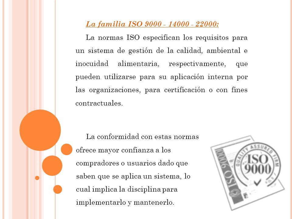 La familia ISO 9000 - 14000 - 22000: