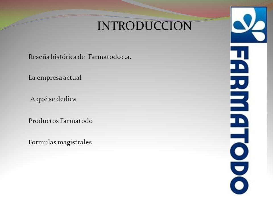 INTRODUCCION Reseña histórica de Farmatodo c.a. La empresa actual
