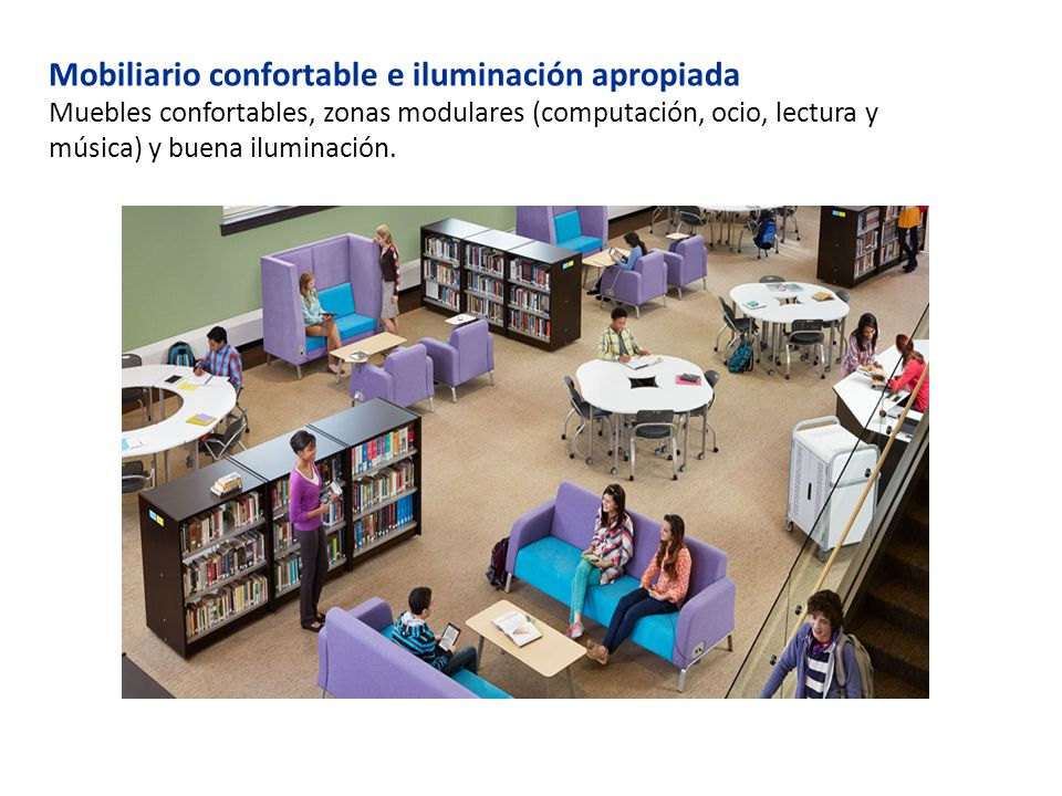 Mobiliario confortable e iluminación apropiada