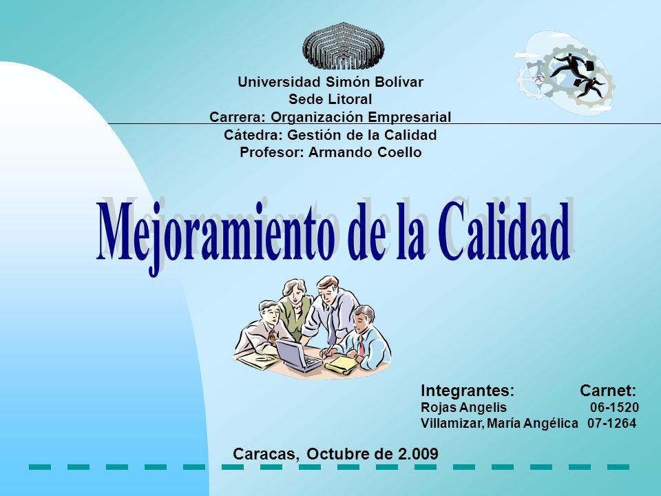 Profesor: Armando Coello Mejoramiento de la Calidad