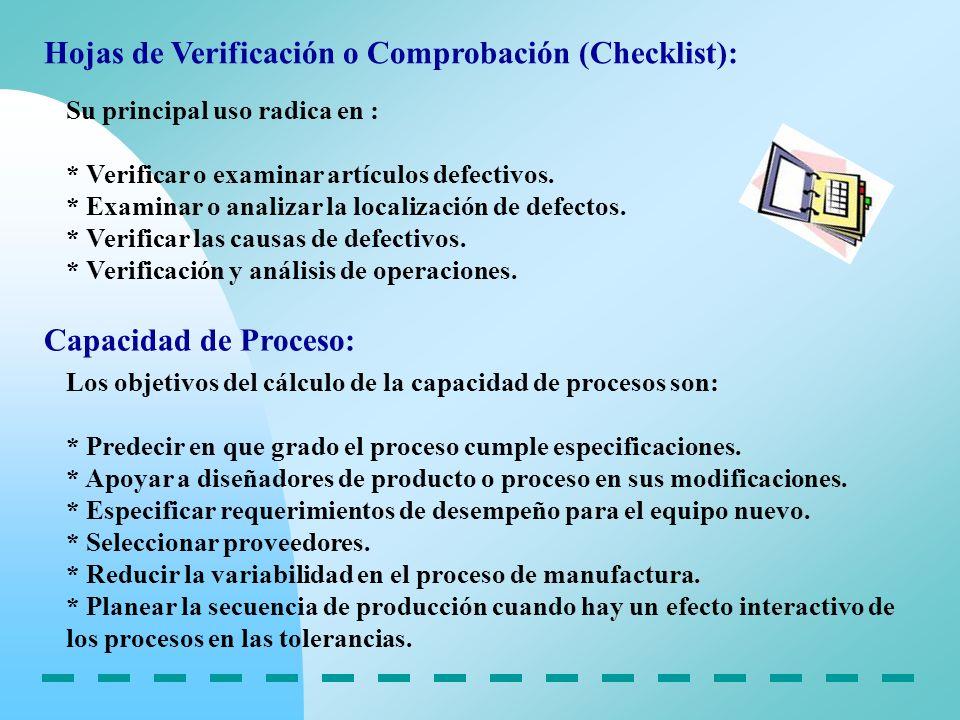 Hojas de Verificación o Comprobación (Checklist):