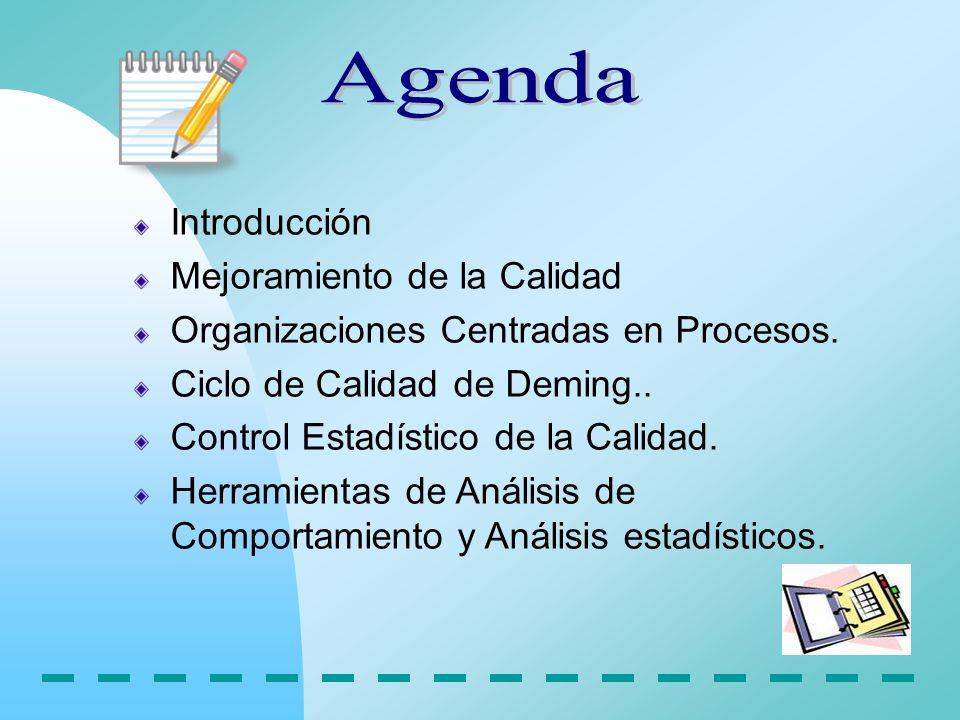 Agenda Introducción Mejoramiento de la Calidad
