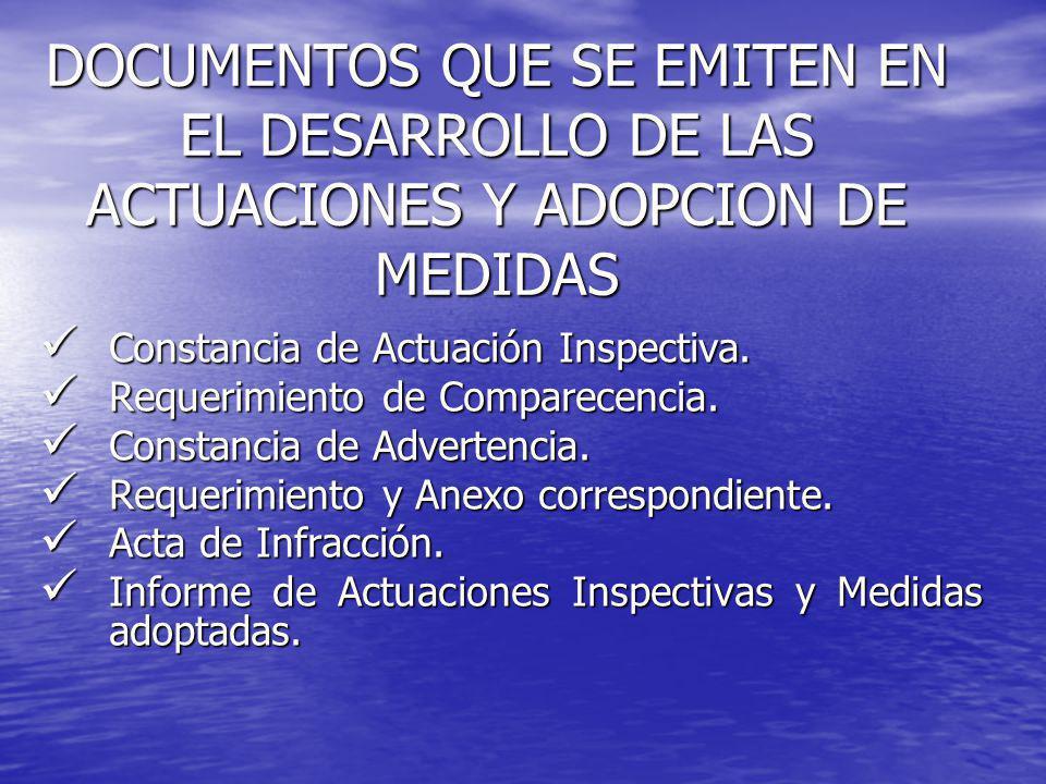 DOCUMENTOS QUE SE EMITEN EN EL DESARROLLO DE LAS ACTUACIONES Y ADOPCION DE MEDIDAS