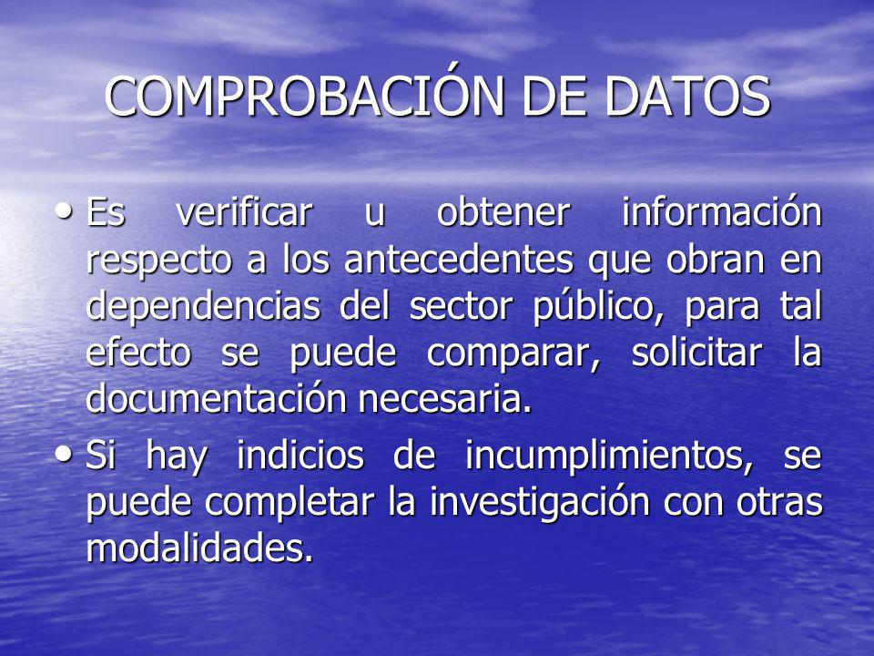 COMPROBACIÓN DE DATOS