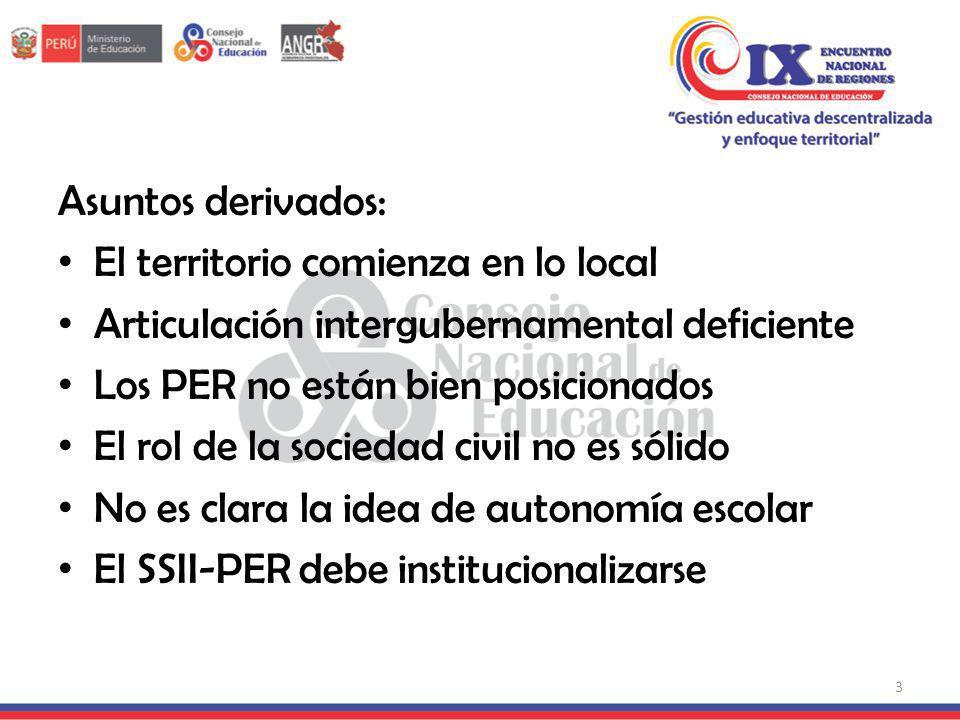 Asuntos derivados: El territorio comienza en lo local. Articulación intergubernamental deficiente.